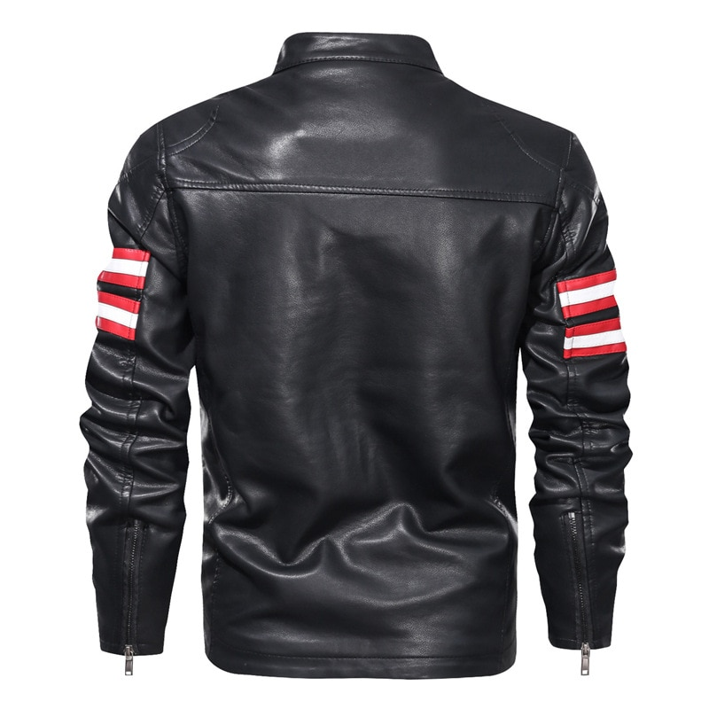 Men's Slim Standing Collar Motorcycle Leather Jacket Korean Youth Fit Hoodless Zipper Decorative Faux Leather Jacket enlarge
