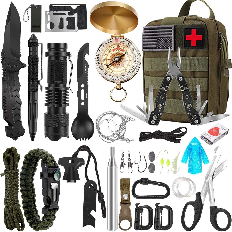 أدوات البقاء على قيد الحياة في الهواء الطلق في حالات الطوارئ 32 في 1 ، معدات البقاء على قيد الحياة ، معدات التخييم ، معدات الإسعافات الأولية ال...