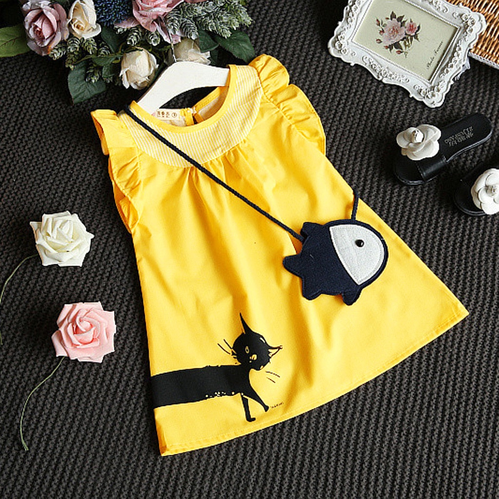 Toddler Kid Baby Girl dress Sleeveless Cartoon O-neck yellow clothes Fish Bag+Cat Casual Princess High Quality Dress summer