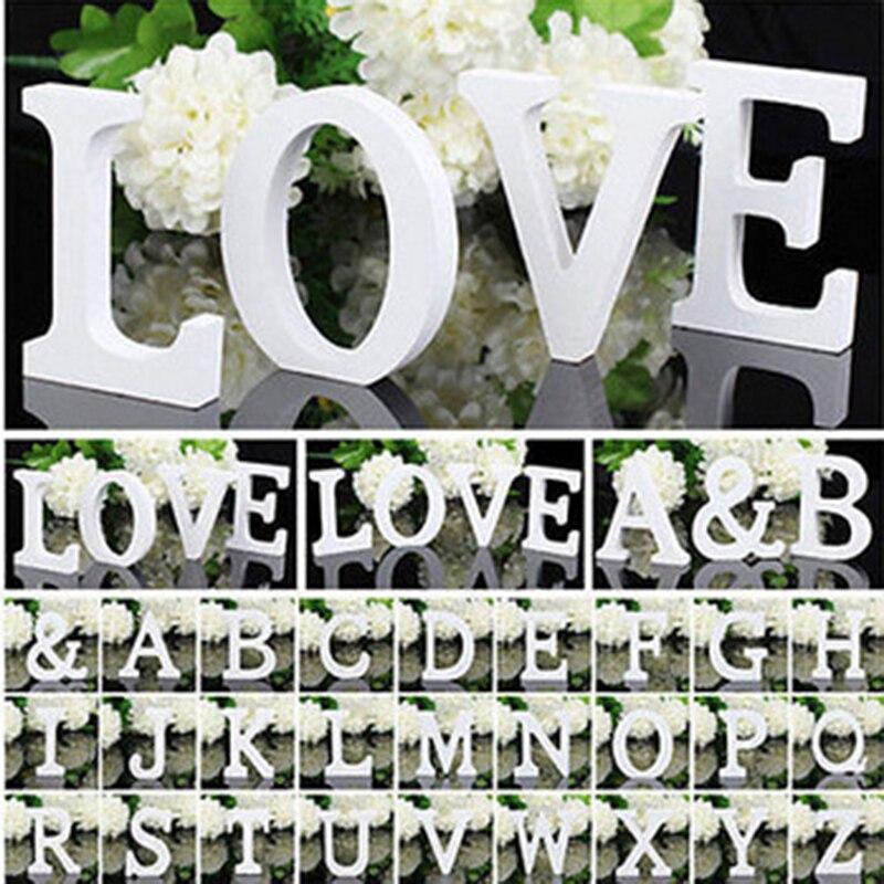 Weiß Holz Brief Englisch Alphabet DIY Personalisierte Name Design Kunst Handwerk Freistehende Herz Hochzeit Home Decor