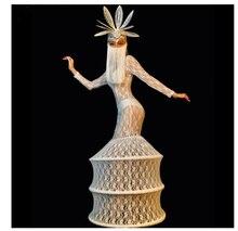 Borla enmascarada tocado blanco encaje perspectiva vestido de fiesta de noche mujeres traje de cantante modelos pasarela Show vestido largo