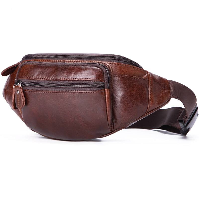 new 2019 genuine leather waist packs bag men travel fanny pack male belt bum shoulder bag waist bag men mobile phone pouch Casual Genuine Leather Men Waist Bag Men's Leather Travel Waist Packs Coffee Male Fanny Pack for Phone Money Bag Belt Pouch