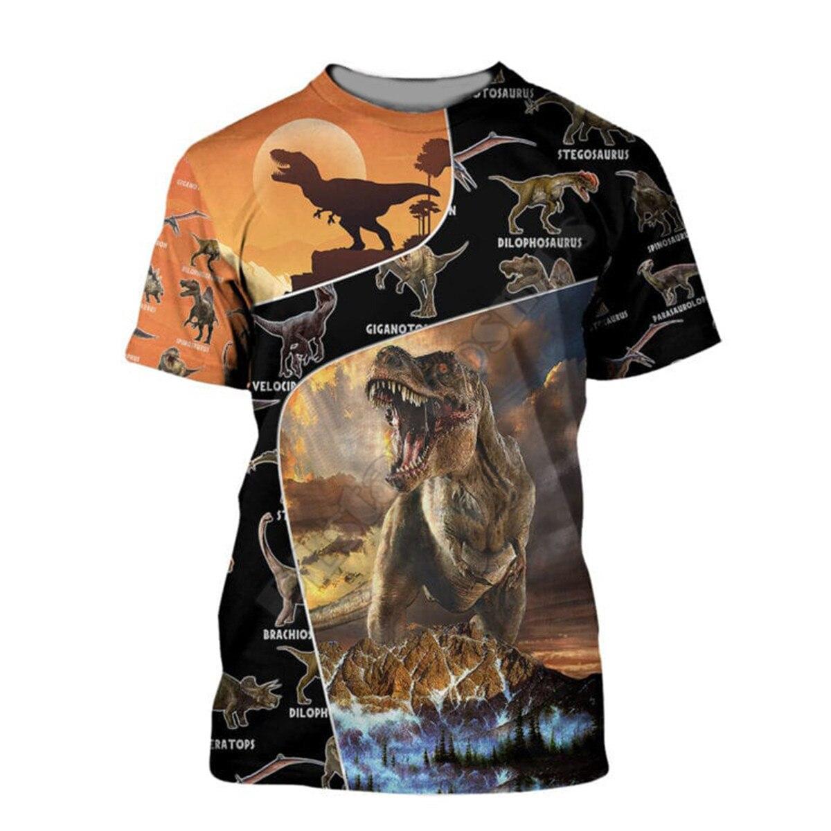 Женские и мужские повседневные футболки Love Dinosaur, летние футболки с 3D принтом и коротким рукавом, Прямая поставка 06