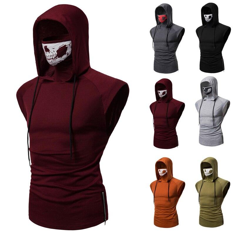 Envío Gratis nueva camiseta para hombre, superelástico, para acondicionamiento físico, uniforme ninja con capucha, camiseta sin mangas, call of duty, chaleco con Calavera, Sudadera con capucha