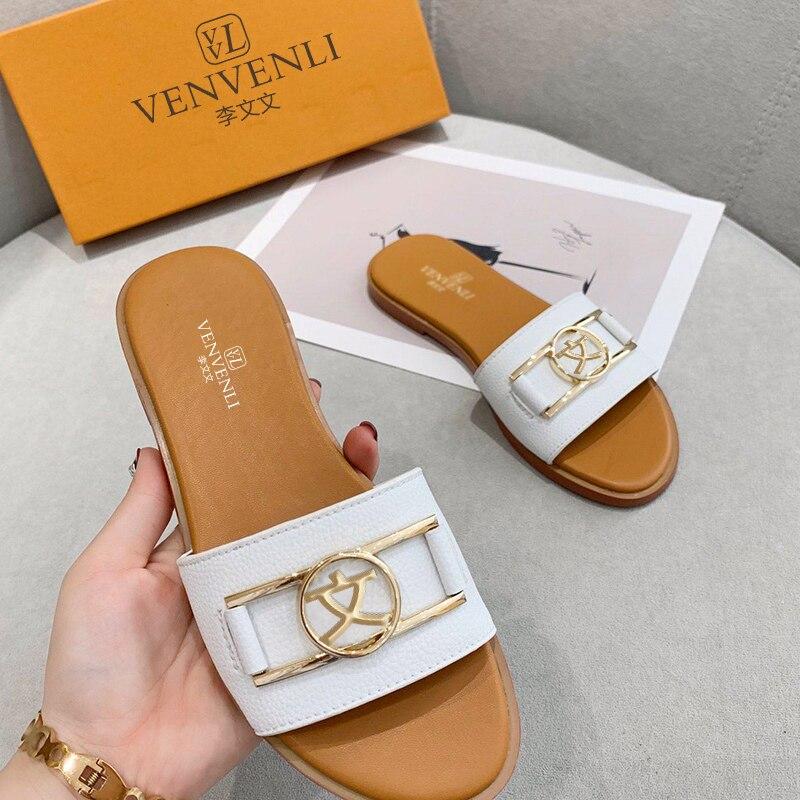 الإصدار الساخن من الفرنسية الخامس VL الصيف النعال الجديدة أحذية نسائية جاكيت جلدي ناعم فاخر قياسي تصنيع غرامة التعبئة والتغليف