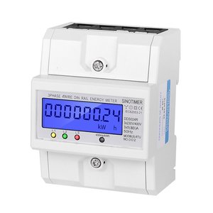 RS485 Modbus Rtu DIN Rail 3 Phase 4 Wire Electronic Wattmeter Power Consumption Energy Meter 5-80A 380V AC 50Hz LCD Backlight