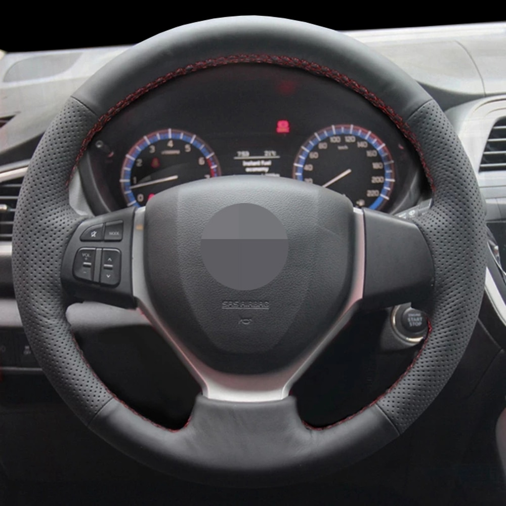 DIY Black Faux Leather Car Steering Wheel Cover For Suzuki Vitara 2015 Suzuki CELERIO S-CROSS SX4 2013 2014