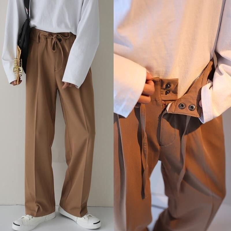 Официальный костюм на шнуровке, мужские костюмные брюки, корейский деловой повседневный костюм, брюки, мужская мода, свободные прямые Костю...
