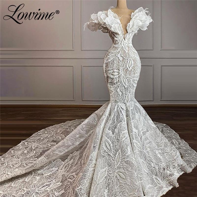 فستان زفاف فاخر على شكل حورية البحر ، فستان زفاف إسلامي من الدانتيل وريش دبي ، 2021