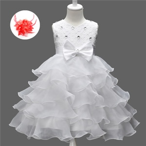 2019 New Baby Kids Party Girls Princess Party Dresses for Little Girls Beaded Lace Layered Birthday Gown for 7 Years Old