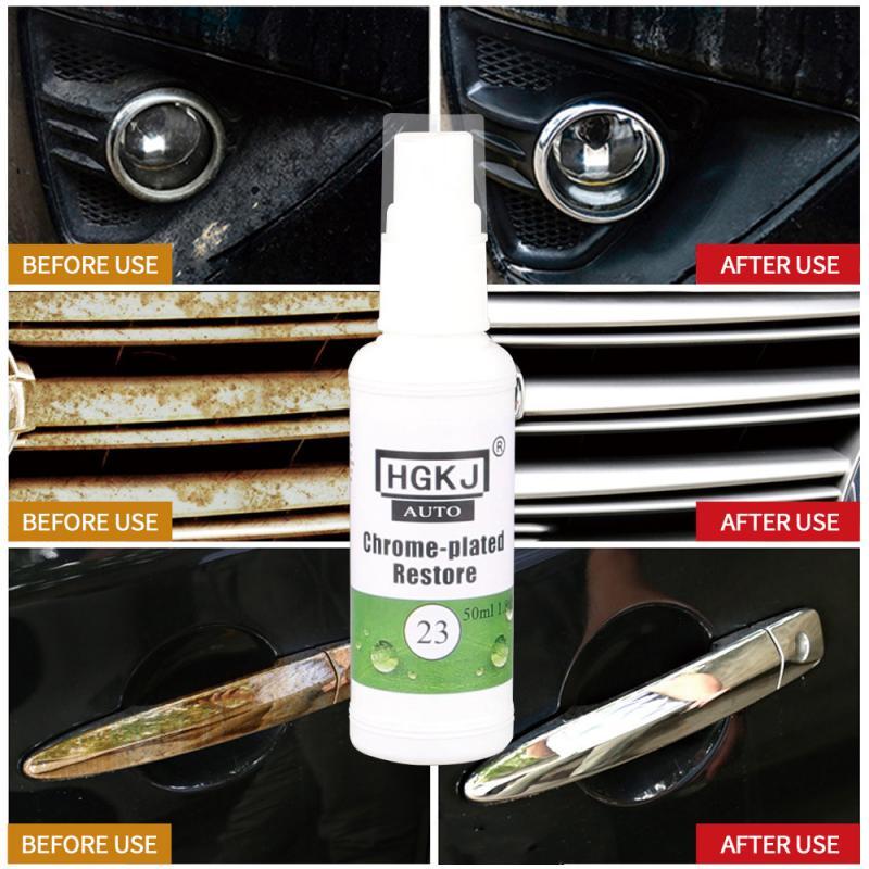 HGKJ-20ml 6*2*2cm 30ml placa cromada recauchutagem agente logotipo do carro remoção de ferrugem spray mais limpo acessórios do carro automóvel dropshipping