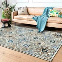 high end european style rug retro flower ethnic style dark blue carpet bedroom living room bathroom bed blanket anti slip mat