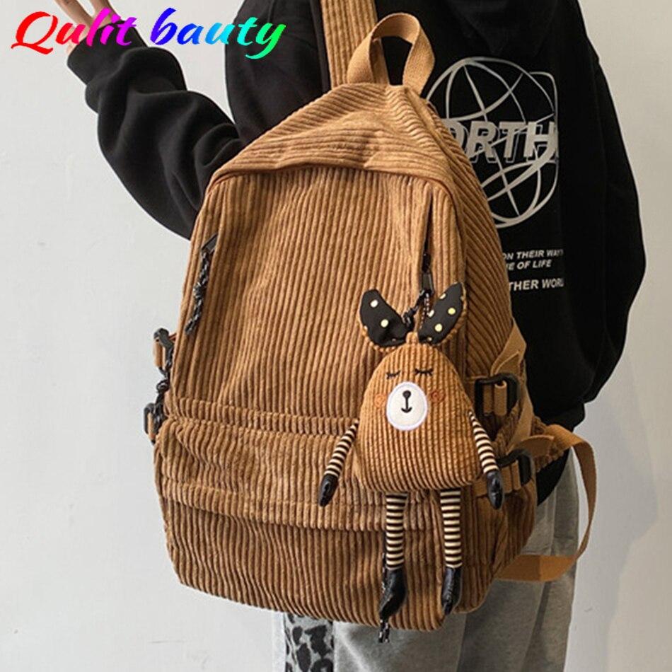 Вельветовый женский рюкзак, однотонный школьный рюкзак в полоску в стиле Харадзюку, рюкзаки для девочек-подростков, женские милые сумки для...