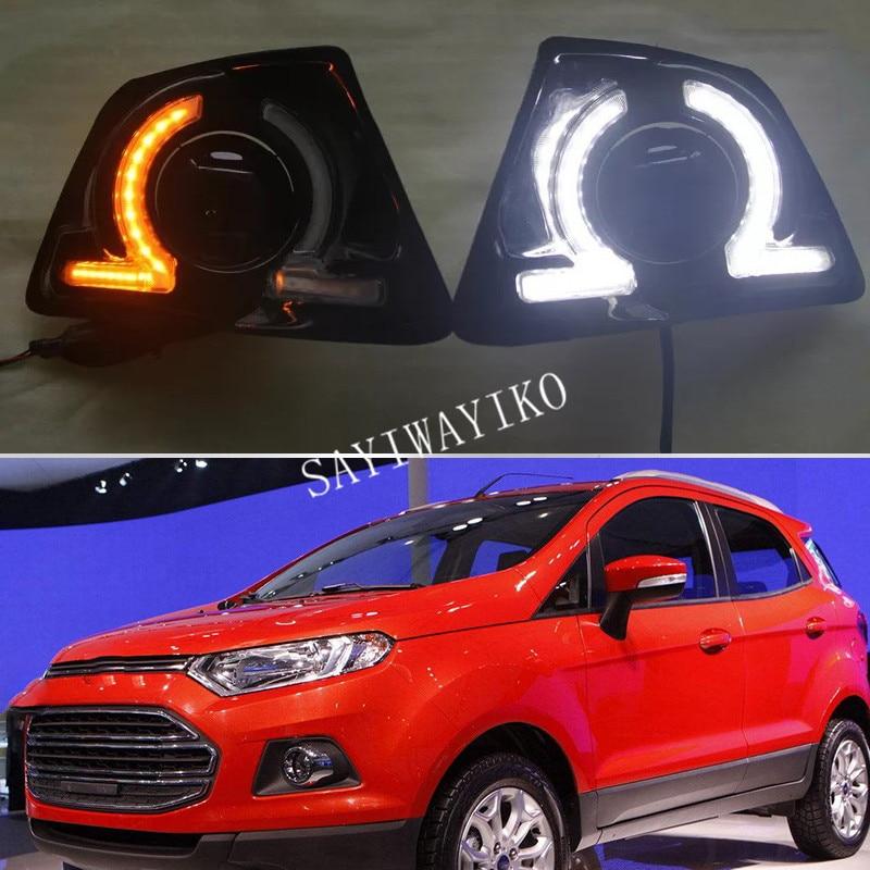 1 par de luces LED DRL impermeables diurnas drl para Ford Ecosport 2013 2014, lámpara de conducción
