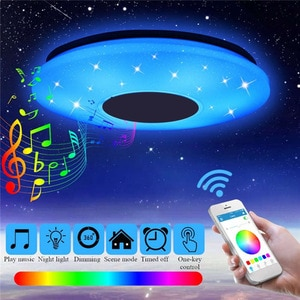 Smart LED APP +Remote Control Bluetooth-compatible Music Ceiling Light with RGB Panel Lamp Speaker 24/36/60W Home Decor Lighting