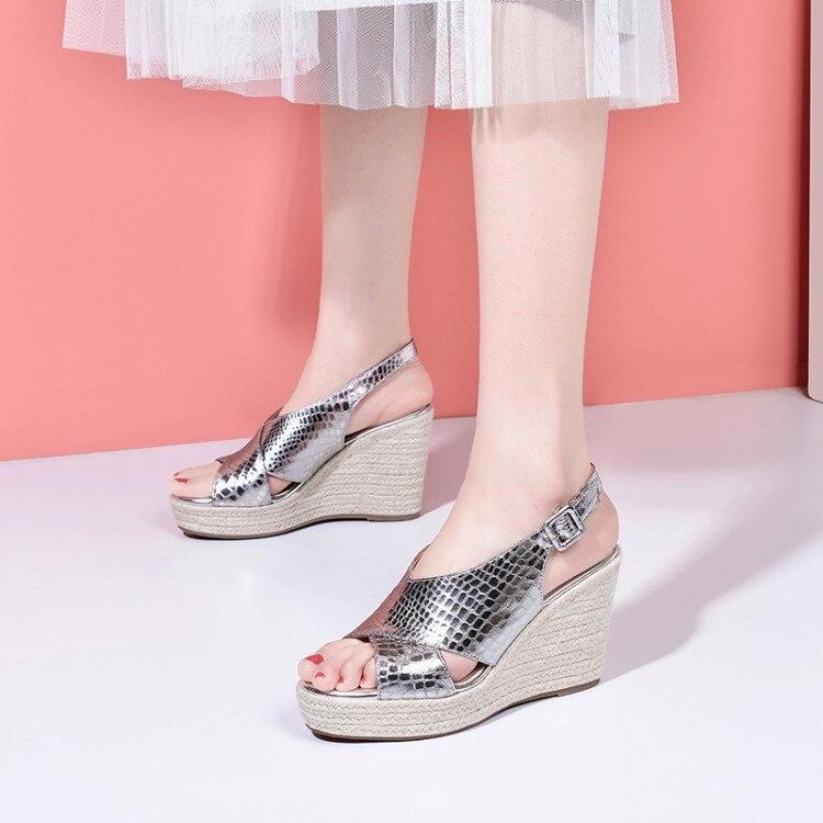 Cuñas zapatos para mujer de yute-corcho recortado metálico texturizado de cuero alpargata cuña Sandalias de tacón alto