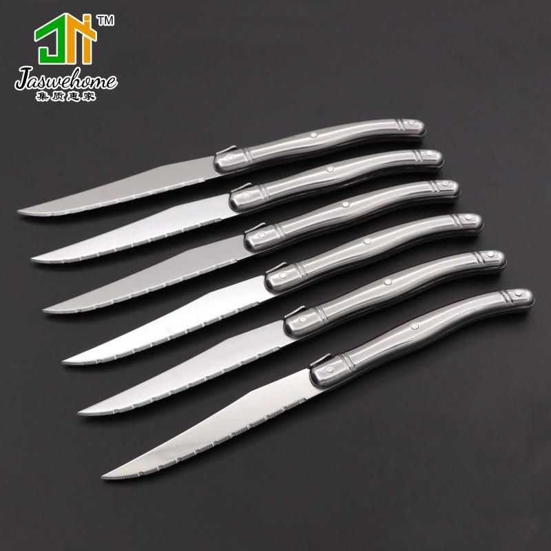 Jaswehome 6 pçs aço inoxidável facas de bife conjunto faca de jantar laguiole faca de aço inoxidável conjunto de utensílios de mesa