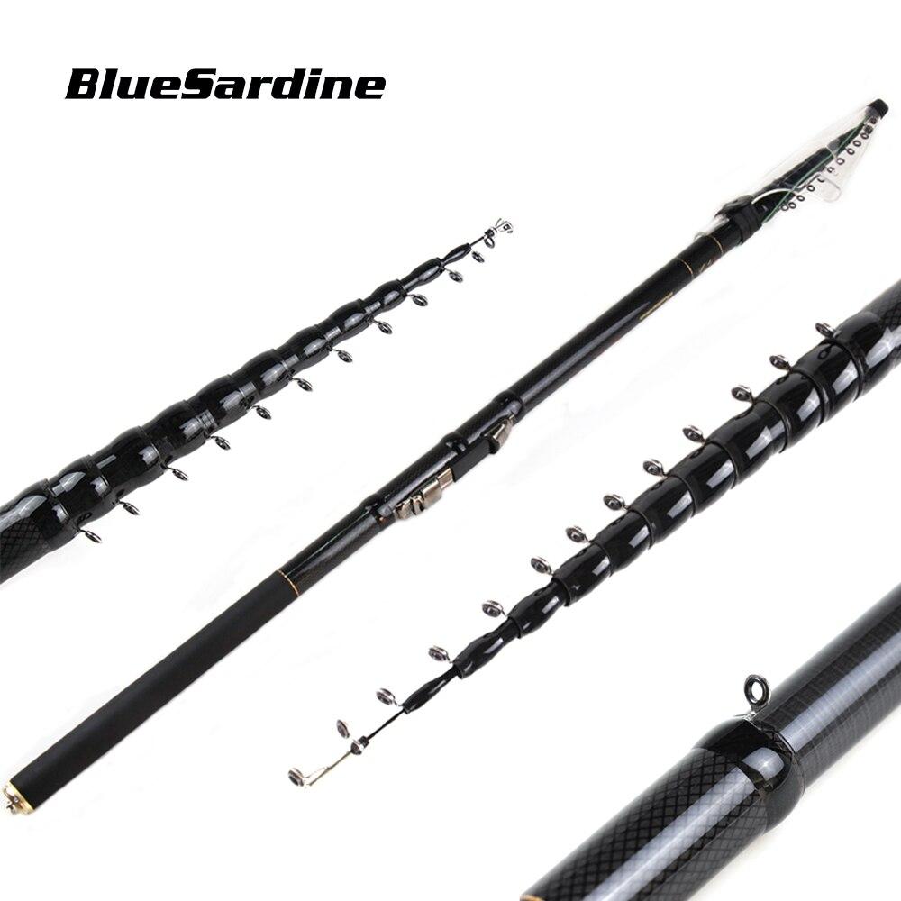 Bluesardine novo design telescópica vara de pesca fluxo mão carcaça fibra carbono leve tenacidade hastes fiação