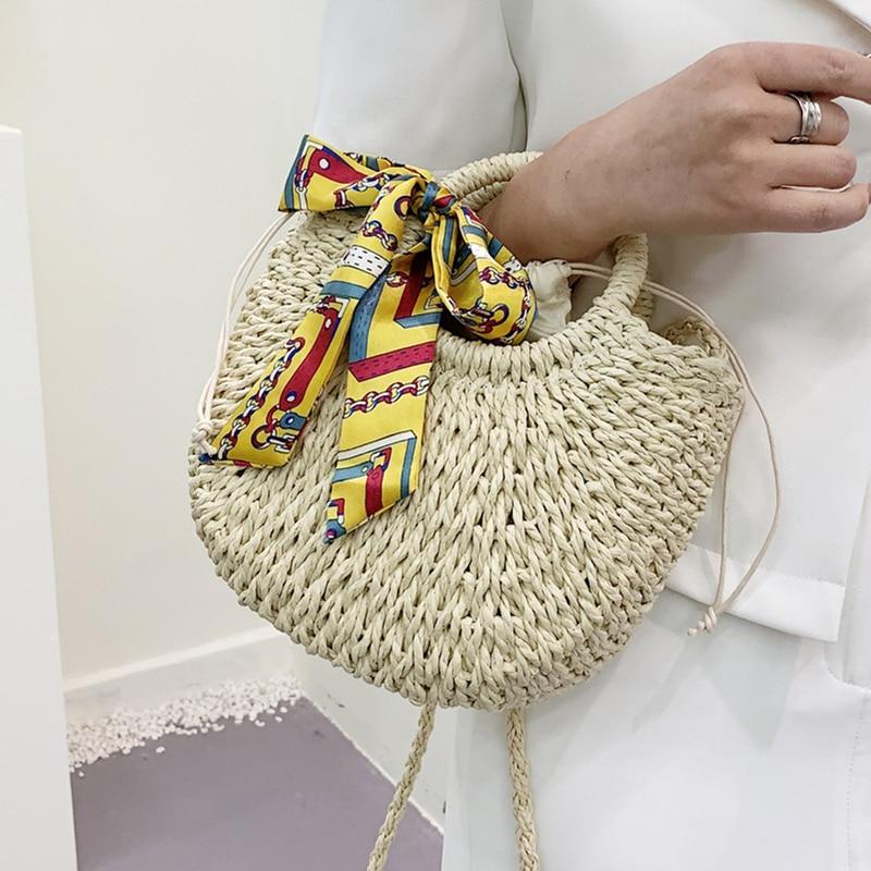 Summer Straw Bag Women Handwoven Moon Shape Handbag Casual Beach Rattan Shoulder Bags Lady Drawstring Weave Basket Crossbody Bag