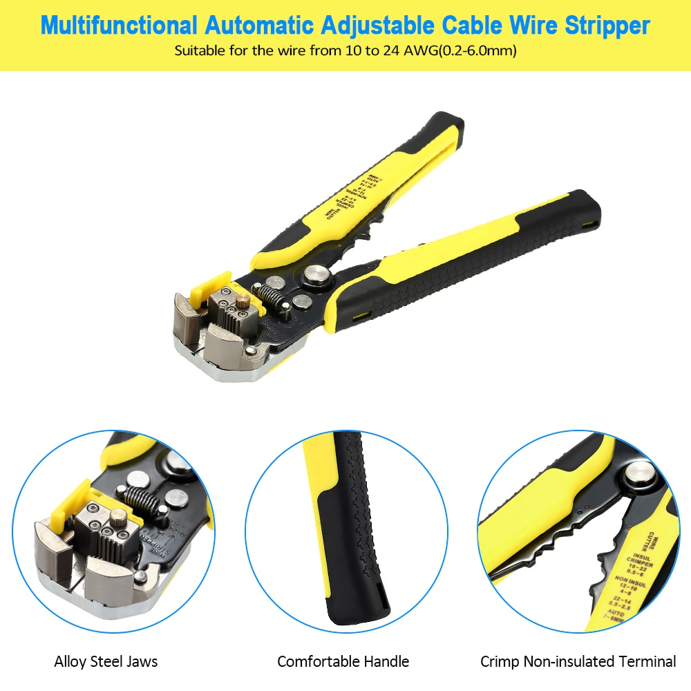 Meterk 4 en 1 multiherramienta de Crimper herramientas ingeniería de trinquete de herramienta de crimpado de Terminal alicates final terminales + cable Stripper