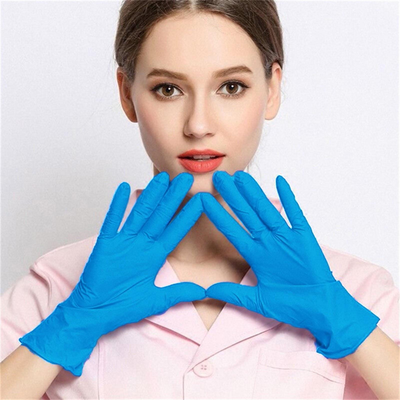 Blue Disposable Latex Gloves Dishwashing Kitchen Work Rubber Garden Gloves Disposable Gloves Guantes