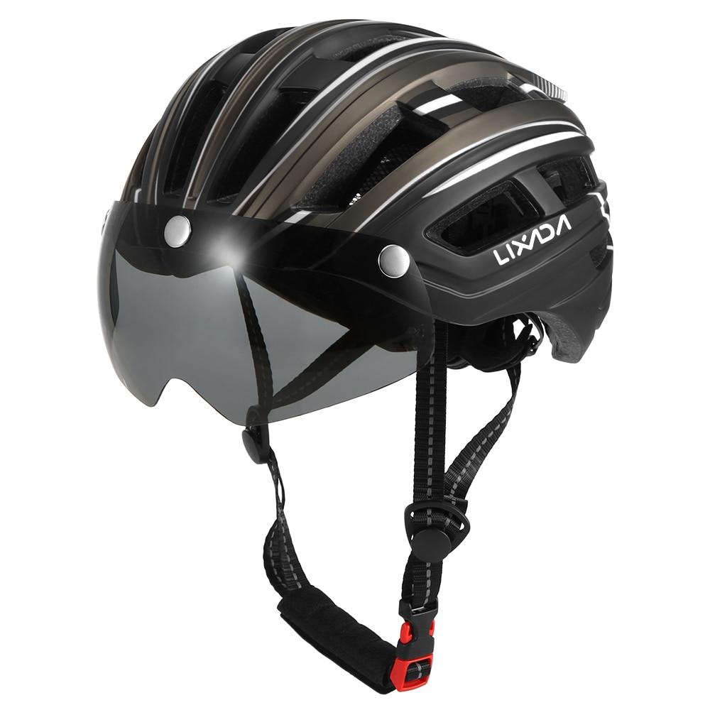 Casco de ciclismo 2020 con Visor removible, gafas deportivas ultralivianas con luz trasera para bicicletas de montaña o de carretera
