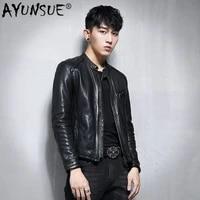 ayunsue genuine leather jacket men 100 sheepskin leather coat biker motorcycle jacket man vlothes 2020 slim fit vintage 1780a