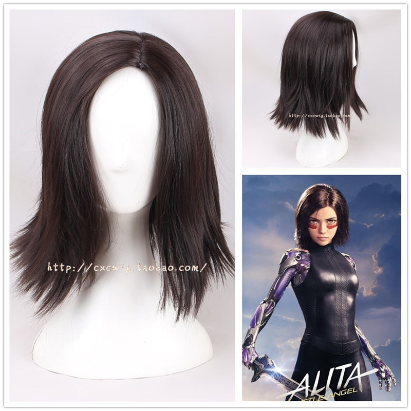 Película Alita Battle Angel pelucas pelo marrón negro mujeres adulto Alita pelo sintético peluca Halloween carnaval Prop disfraz