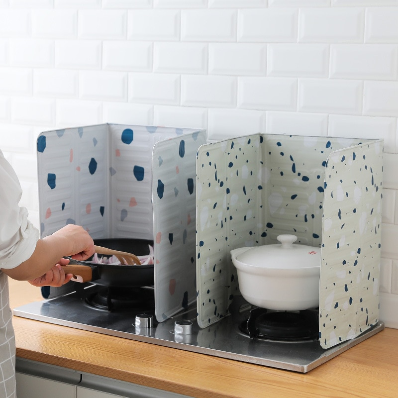 1 Uds estufa de Gas aluminio aislamiento térmico lámina de aceite a prueba de salpicaduras placa desviadora cocina lámina de aislamiento de cocina