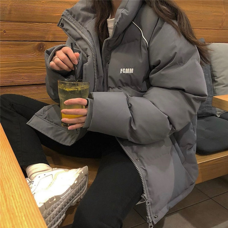 2021 women's parka coat fashion basic cotton down jacket winter fashion soft and thick leisure stand
