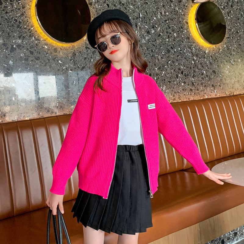 Girls Sweater Autumn Winter Kids Solid Casual Cardigan Outwear Teen Fashion Half Turtleneck Sweater Children's Clothing 10 12 Y enlarge