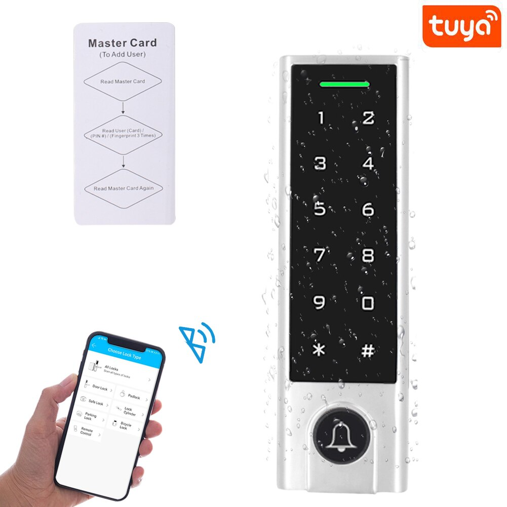 app Bluetooth Tuya App Access Controller IP66 Waterproof 125Khz RFID Access Control Add Delete Users by APP 1000 User 100 App User