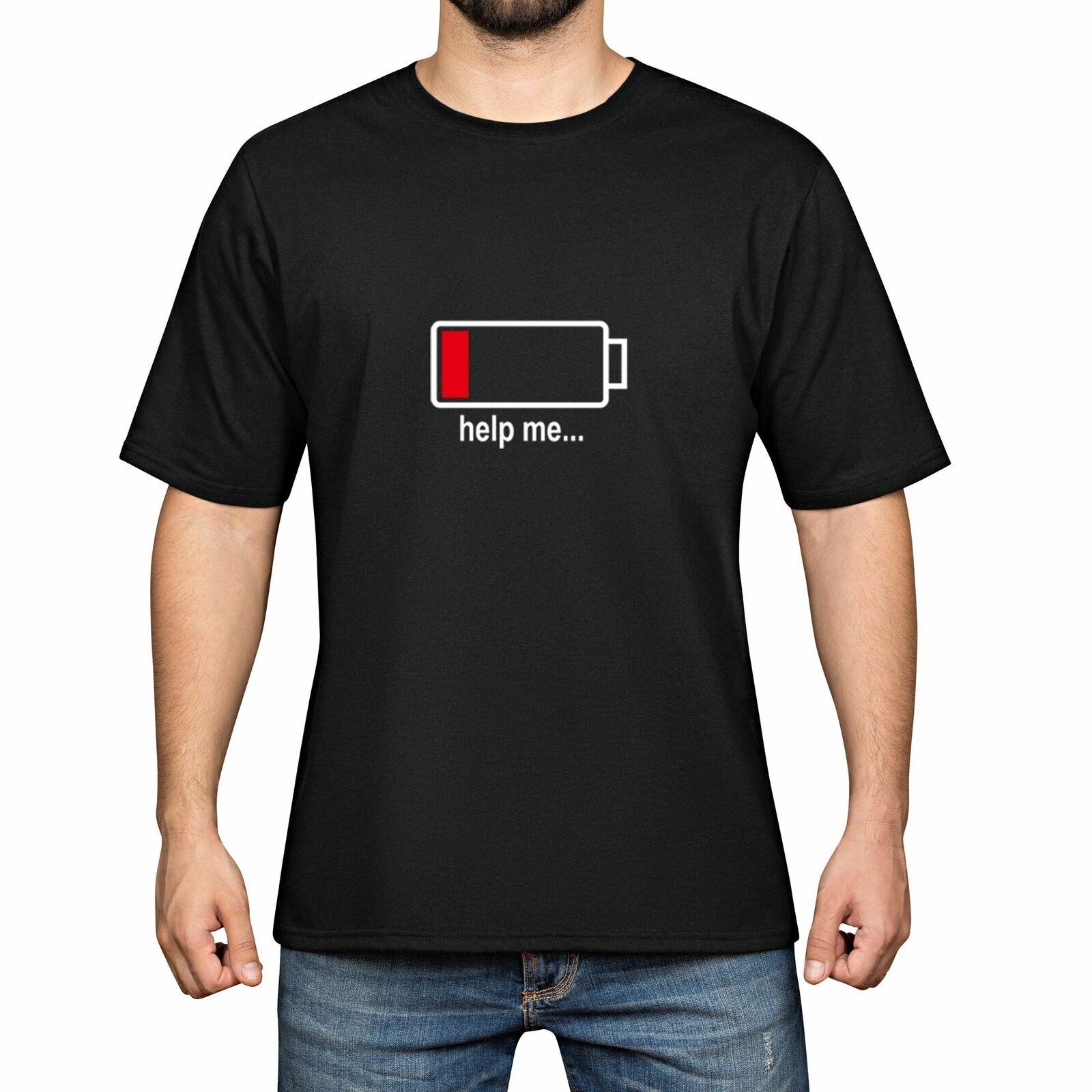 Camisetas de moda divertidas de algodón Help Me Men Camiseta de manga corta
