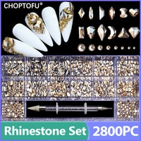 2800PC/Box Crystal Nail Rhinestone Set Sparkling Diamond Rhinestones Kit Luxury FlatBack Nail Art With 1 Pen For Decorations