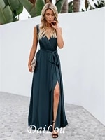 a line v neck floor length chiffon bridesmaid dress with bows pleats split 2021