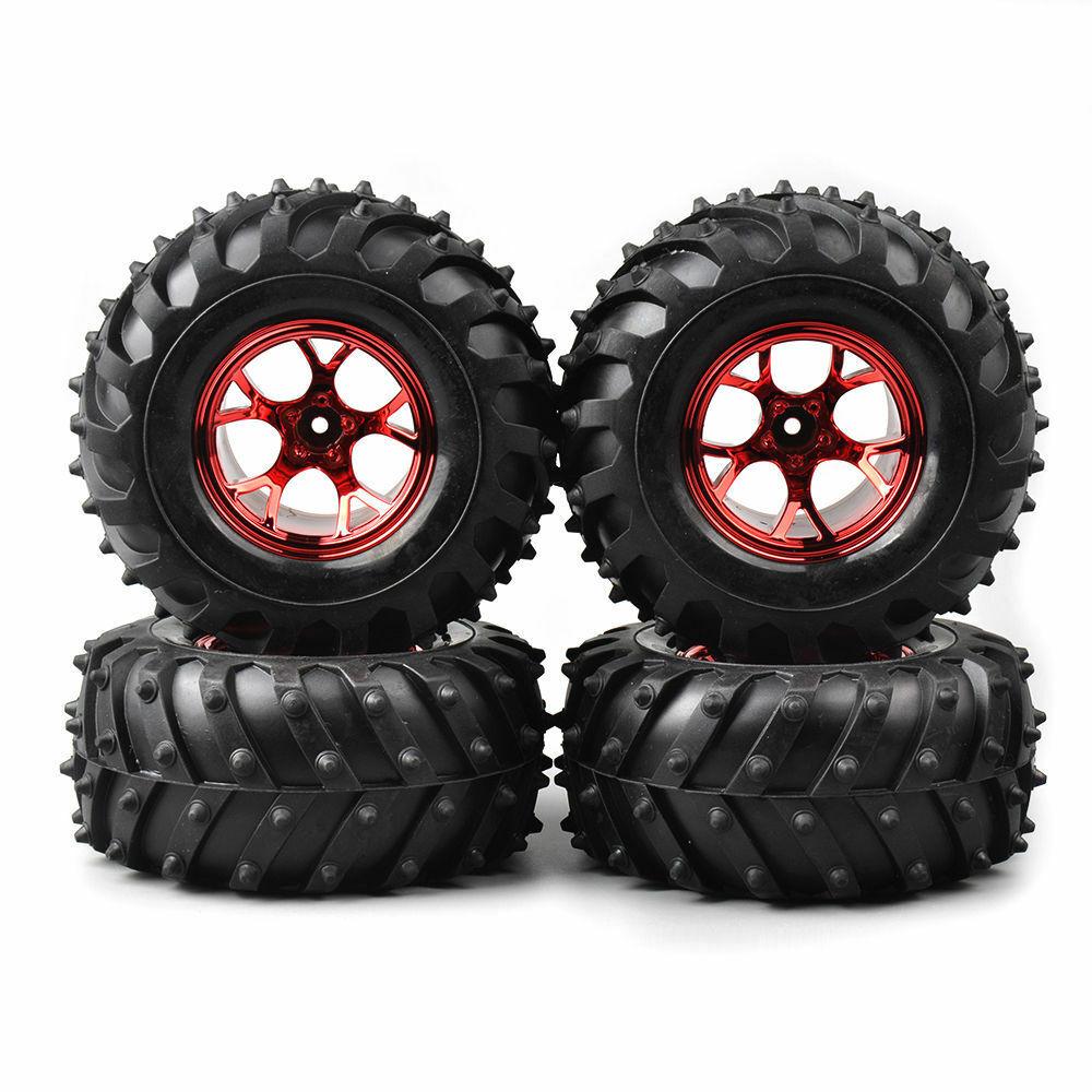Купить с кэшбэком 4Pcs 1/10 Tires&Wheel Rims Set 12mm Hex For HSP HPI Bigfoot Monster RC Truck Car