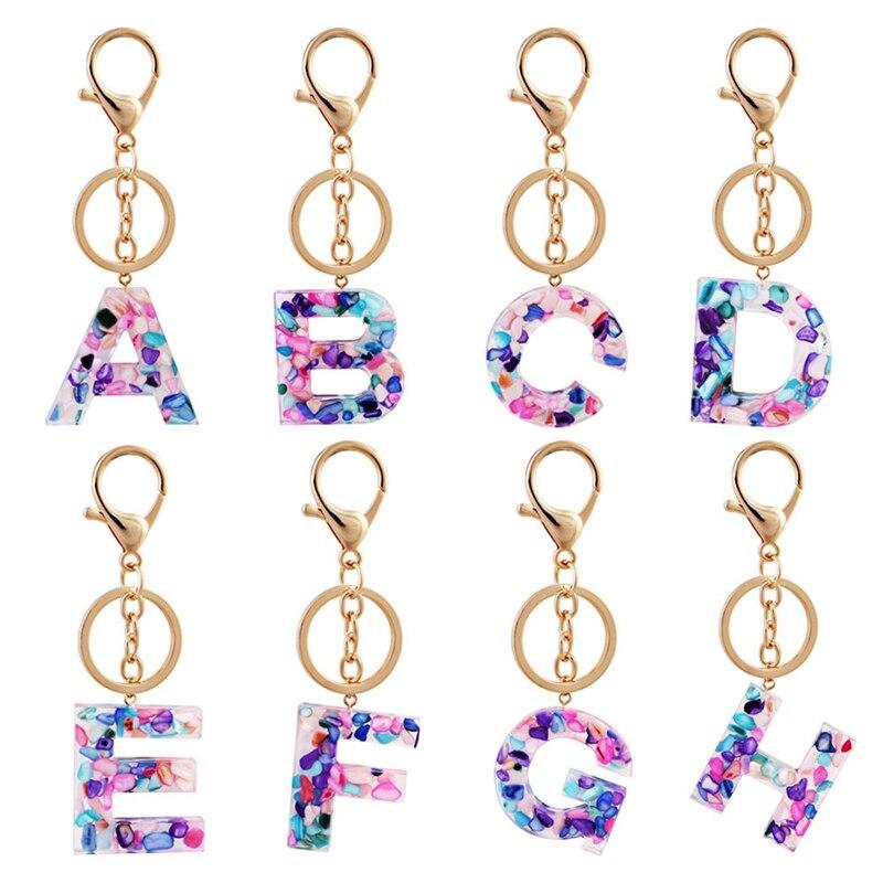 LLavero de 26 letras inglesas, llavero de resina acrílica brillante A Q para mujer
