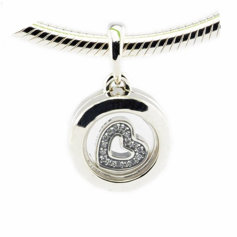 Küçük yüzen madalyon İmza yuvarlak kolye temizle CZ kalp Petite gümüş takılar kadınlar için bilezikler gümüş 925 takı yapımı