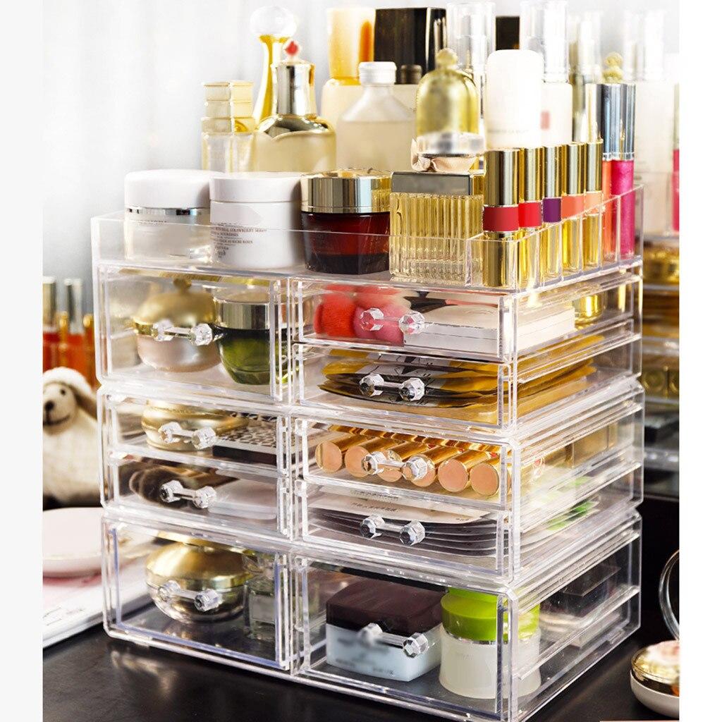 Caja de almacenamiento de cosméticos, 3 cajones, organizador de maquillaje, almacenamiento de cosméticos, estante de exhibición de moda de cristal helf, alta capacidad
