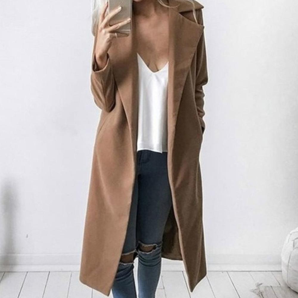 abrigos mujer invierno 2019 Casual cuello de solapa de punto abierto de lana abrigo de mujer de moda cálido bolsillo sólido talla grande ropa de abrigo largo