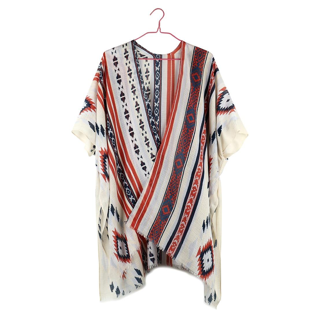 Nuevo Kimono Floral rayado Mujer Vintage Boho blusa Top Kimono Mujer camisa 2019 blusa femenina verano playa Rebeca larga