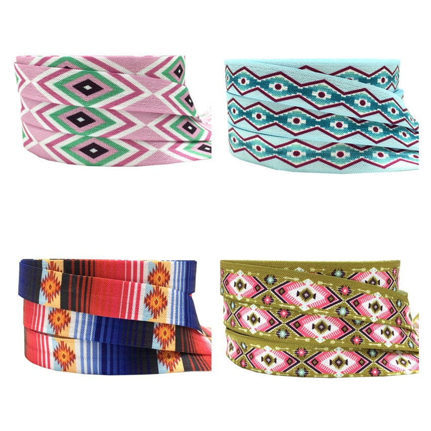 10Yards 16mm Geometric arrow printed  fold over elastic Aztec FOE Handmade Accessories DIY Hair tie Party Decor ribbon