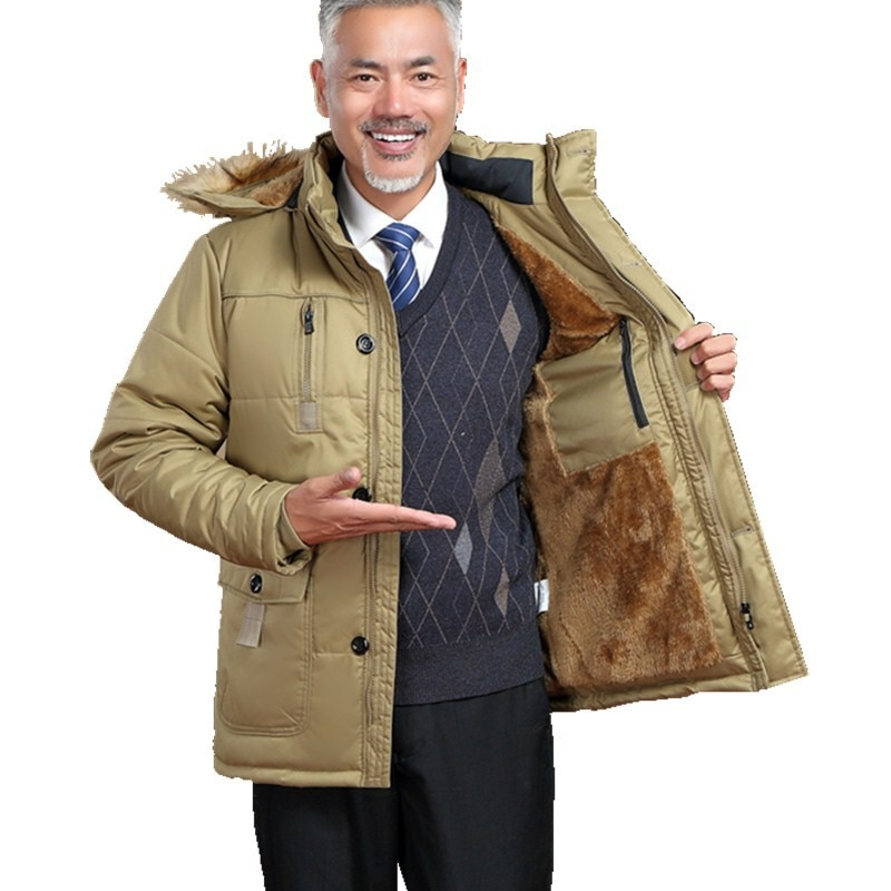 2020 winter men's cloths long cotton padded jacket middle aged and elderly warm clothes Plush thickened loose plus size coats
