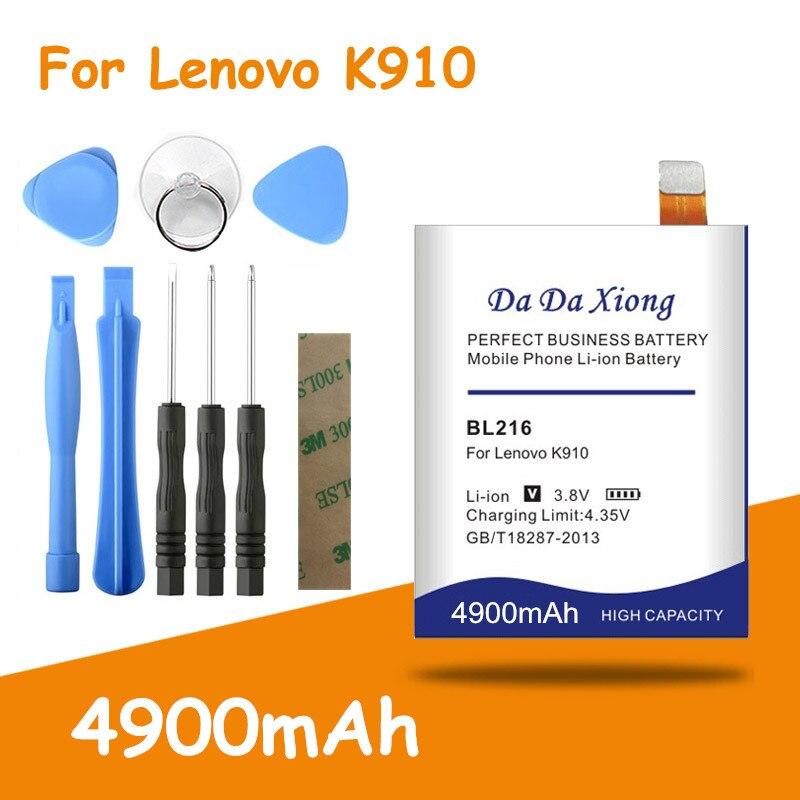 Бесплатная доставка 4900mAh BL216 батарея для Lenovo VIBE Z K910 K6 X910 K910e BL-216 bl216 Замена батареи + Бесплатные инструменты