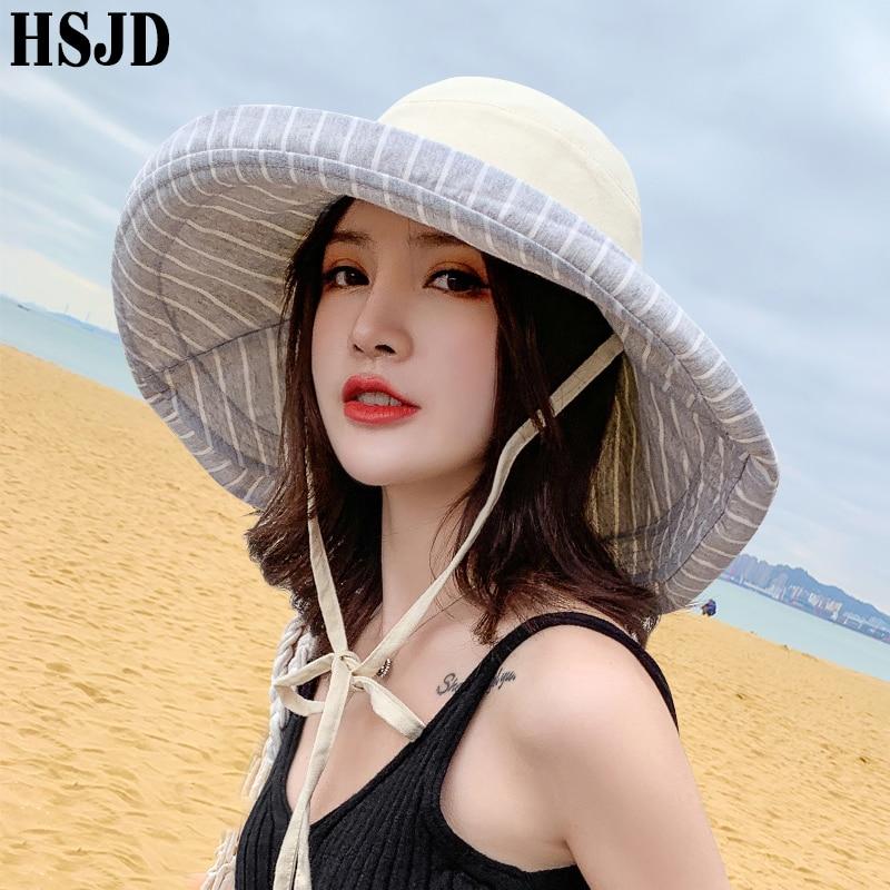 2020 New Super Wide Brim Double-sided Stripe Sun Hats Women Summer Hat Anti-UV Beach Sunscreen Caps Foldable Female Panama Hat