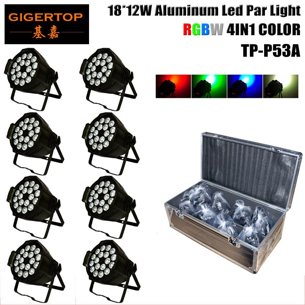 TP-P70B 8IN1 Flightcase Pack LED PAR 18 RGBW Color 4IN1 DMX Mode 4/8 channel, Auto Mode Color Strobe Effect Hanging Bracket