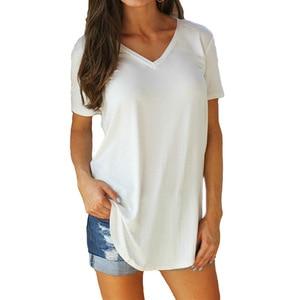 Plus Size S-5XL Casual Loose Short Sleeve T-Shirt Top Women's V-Neck Solid T-shirt Cotton Short Sleeve Fashion Women's Wear