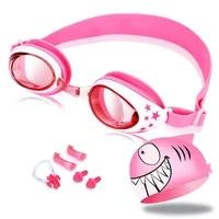 swimming goggles silicone nose clip ears plug kids girls anti fog eyewear shark swim cap set glasses children age 3 12