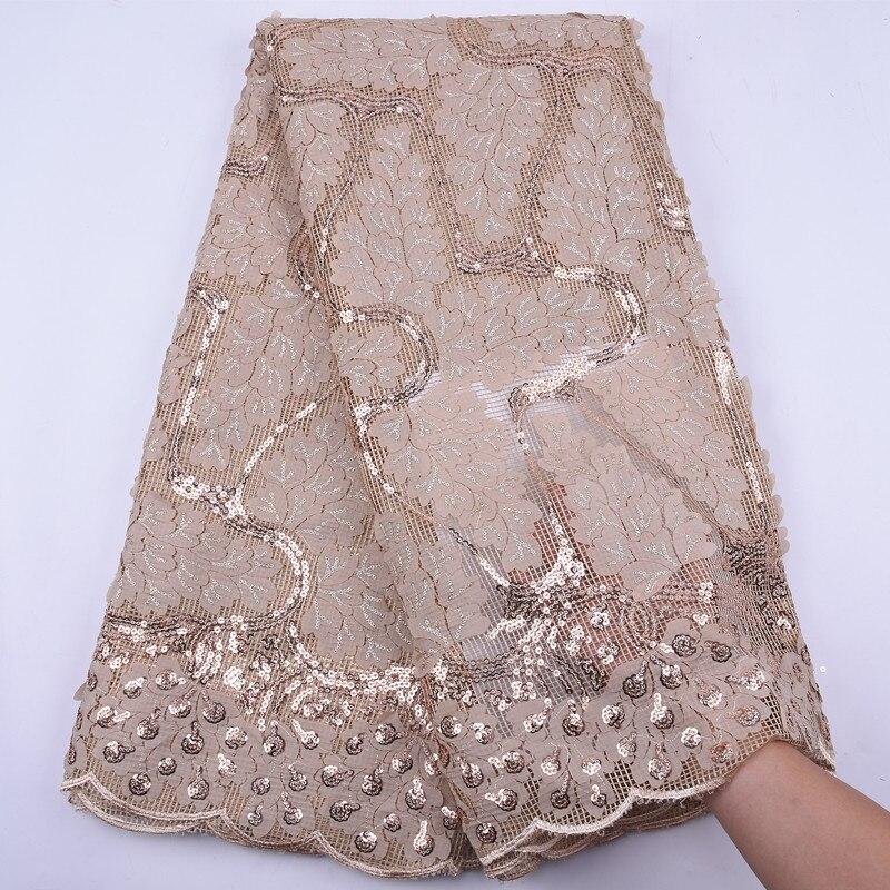 ¡Éxito de ventas! Tela de encaje de malla Africana nigeriana de oro de alta calidad, Material de encaje de tul francés con lentejuelas para vestido de novia, tela para coser
