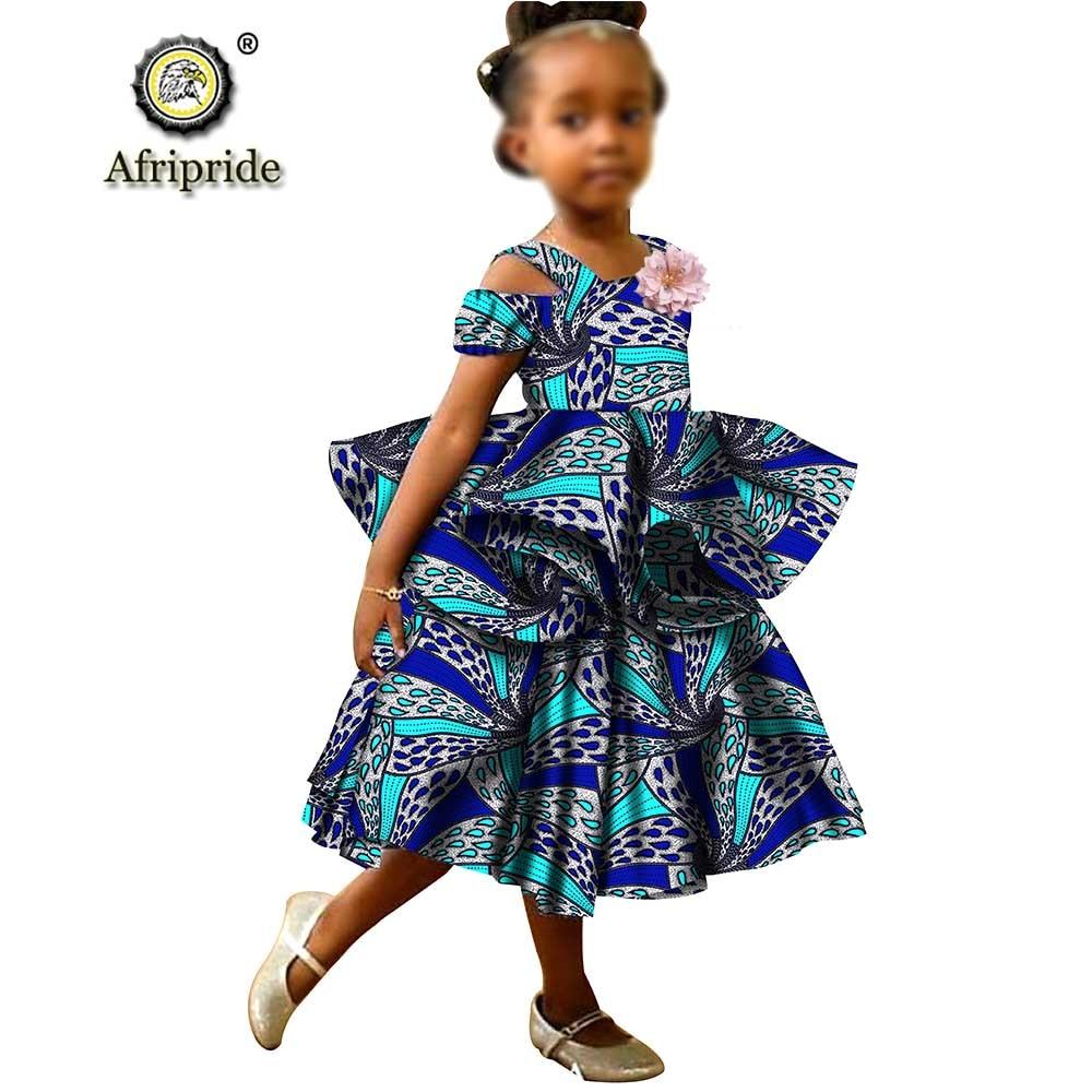 African Girls Dresses Sleeveless Double Princess Dress Casual Lovely Ankara Kids Print Mini Shirt AFRIPRIDE S1940017